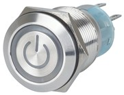 Blue 19mm IP67 Metal Pushbutton Momentary Switch with Iluminated Power Indicator
