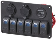 6 Way Marine Switch Panel with Charging Sockets and Voltage Display
